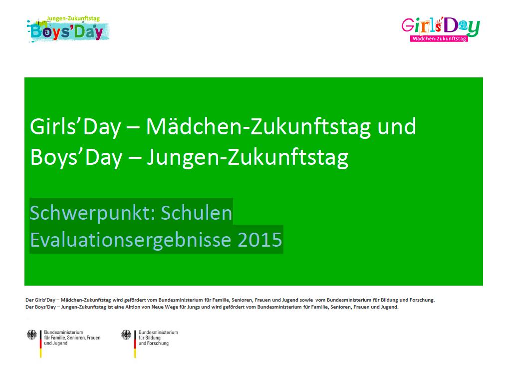 Evaluationsergebnisse - Schwerpunkt Schulen: Boys'Day und Girls'Day 2016