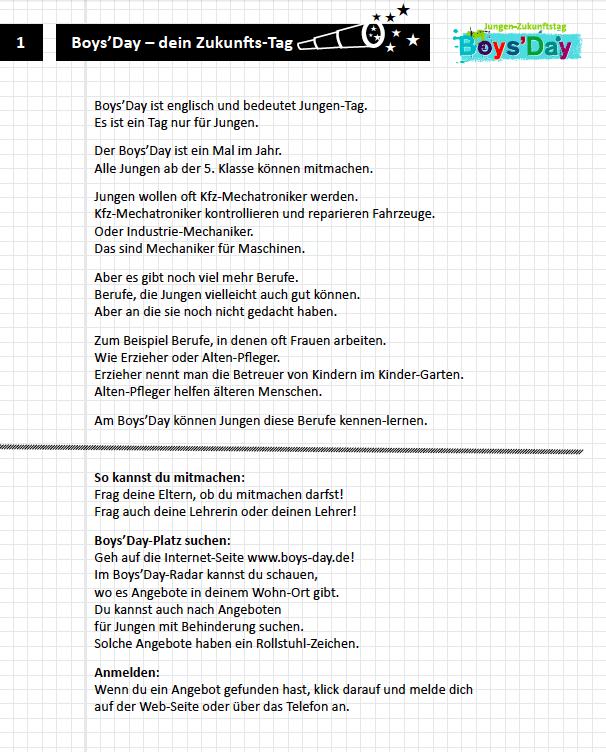 Boys\'Day Unterrichtsmaterialien – Arbeitsblätter Leichte Sprache ...