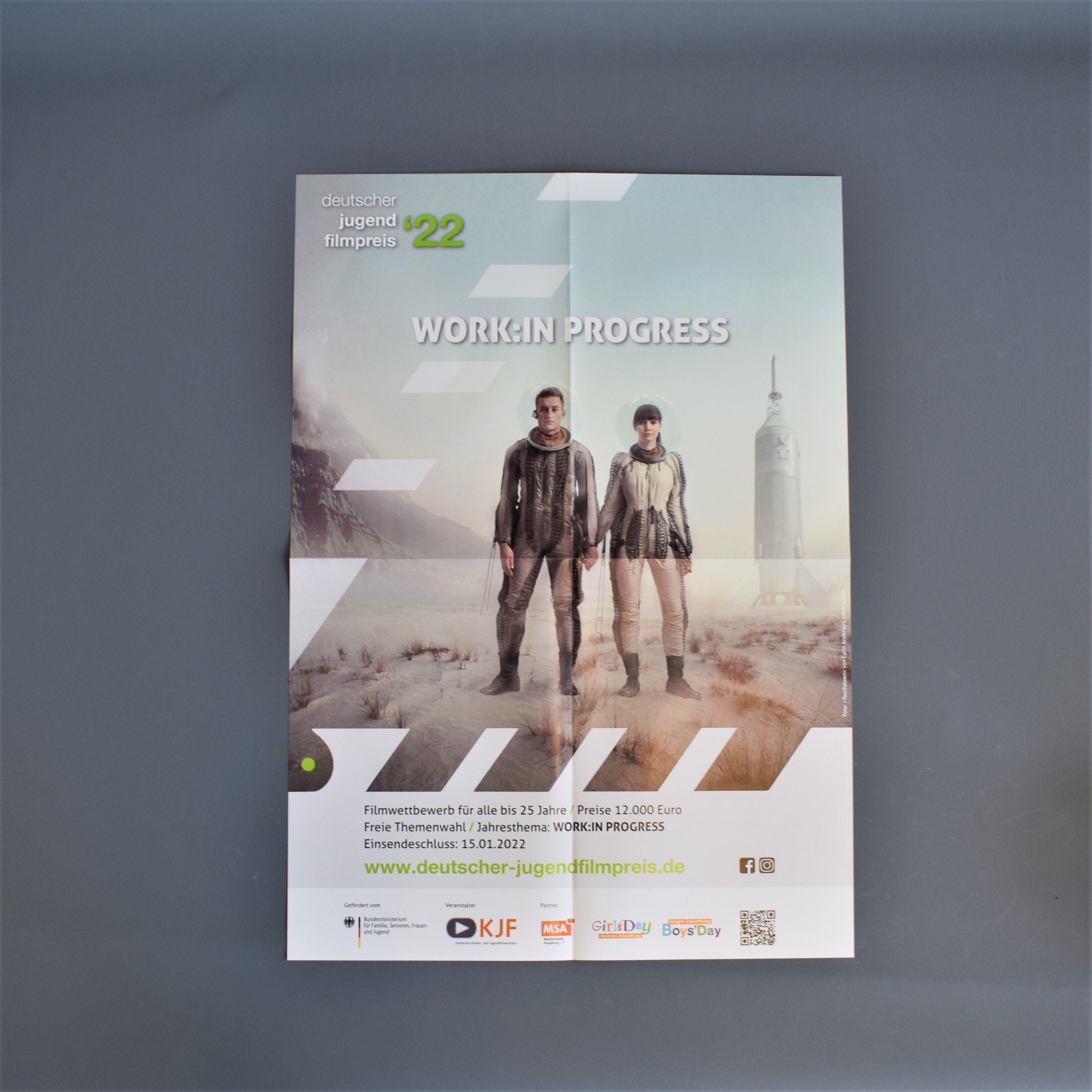 Ausschreibungsplakat zum Deutschen Jugendfilmpreis 2022: Work:in Progress