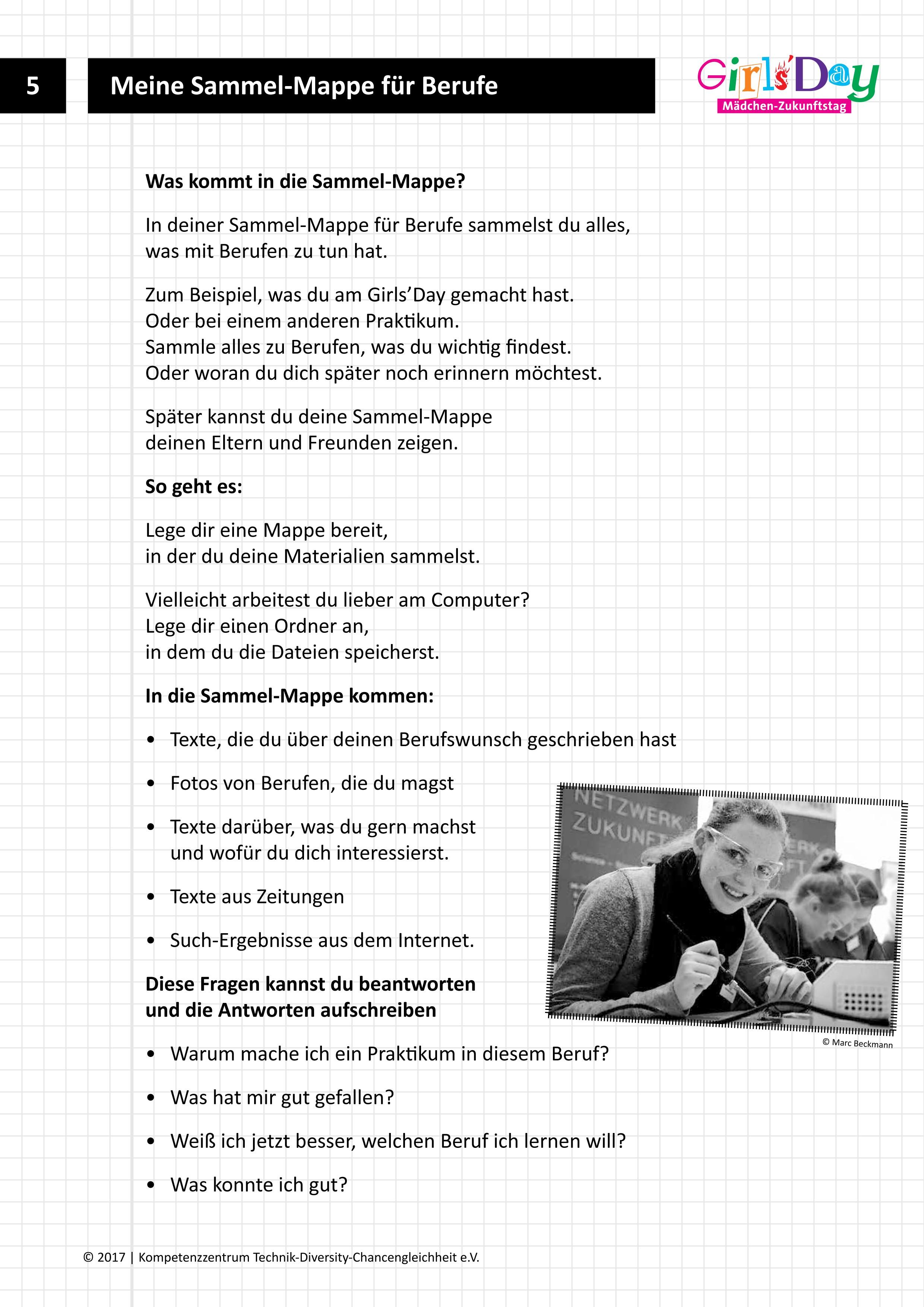 Girls'Day-Unterrichtsmaterialien - Arbeitsblätter Leichte Sprache