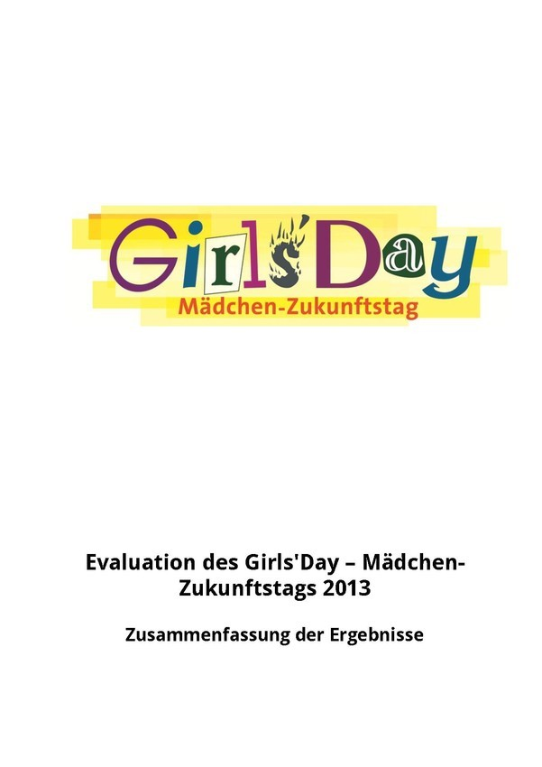 Girls'Day-Evaluationsergebnisse 2013 | Zusammenfassung