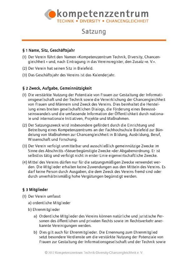 Kompetenzzentrum Technik-Diversity-Chancengleichheit e.V.  |  Vereinssatzung