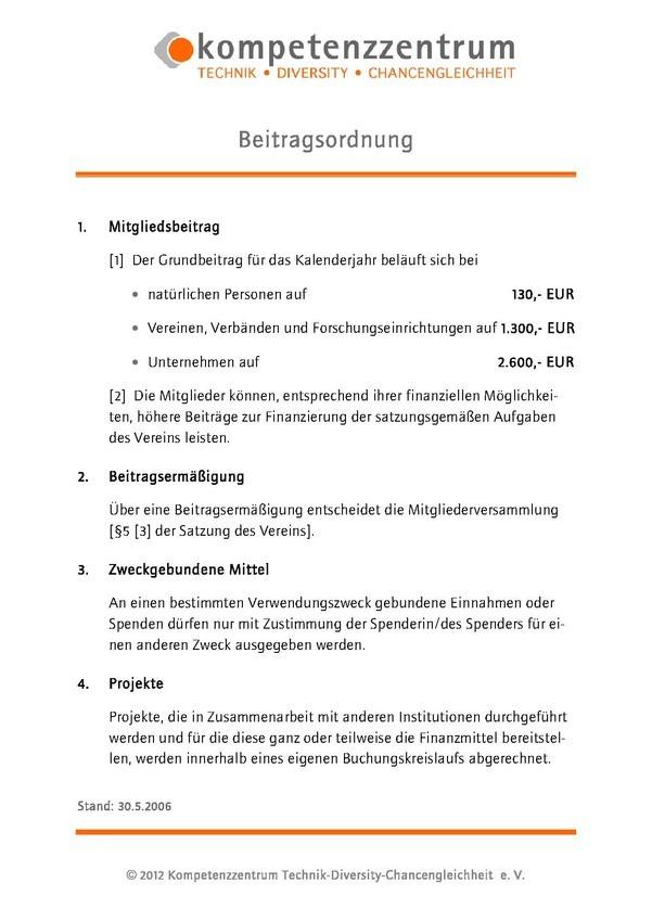 Beitragsordnung Kompetenzzentrum Technik-Diversity-Chancengleichheit e.V.