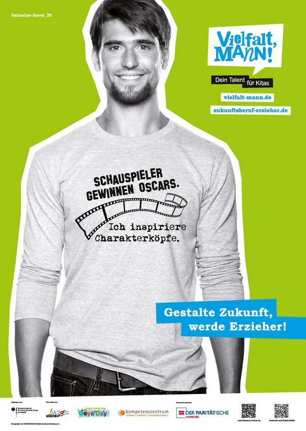 Vielfalt Mann | Ich inspiriere Charakterköpfe | Plakat zum Bewerben des Erzieherberufs |  DIN A 2