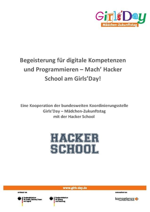 """Konzept für einen digitalen Workshop """"Begeisterung für digitale Kompetenzen und Programmieren – Mach' Hacker School am Girls'Day!"""""""