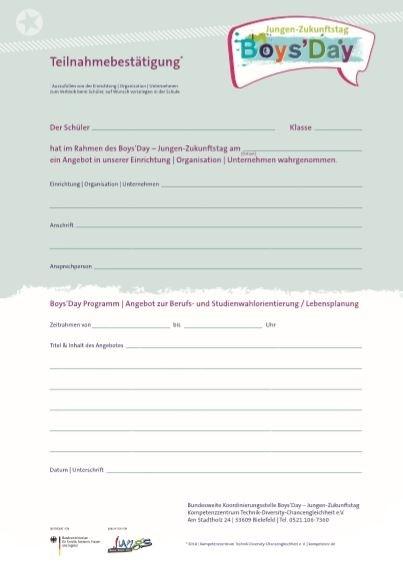 Boys'Day Teilnahmebestätigung (Restbestand, Auflage 2018)